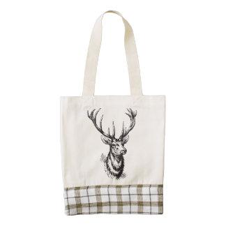 Vintage Rustic Deer Antlers Print Zazzle HEART Tote Bag