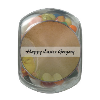 Vintage Rustic Easter Chicken Jelly Belly Candy Jar