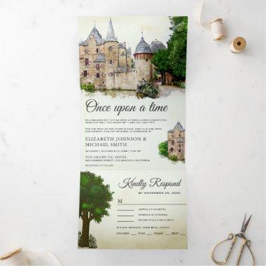 Vintage Rustic Fairytale Castle Story Book Wedding Tri-Fold Invitation