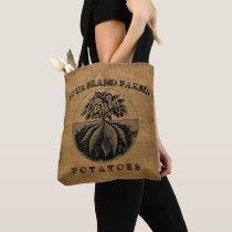 Vintage Rustic Faux Burlap Potato Sack Template Tote Bag