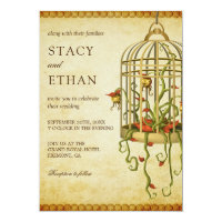 Vintage Rustic Floral Birdcage Wedding Invitation