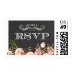 Vintage Rustic Floral Chalkboard Wedding RSVP Postage
