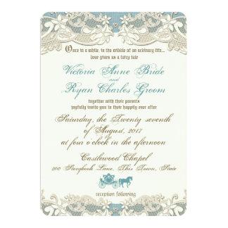 Vintage Rustic Floral Fairy Tale Wedding 5x7 Paper Invitation Card