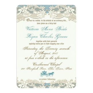 Vintage Rustic Floral Fairy Tale Wedding Card