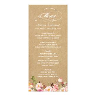 Vintage Rustic Floral Kraft Wedding Menu Template
