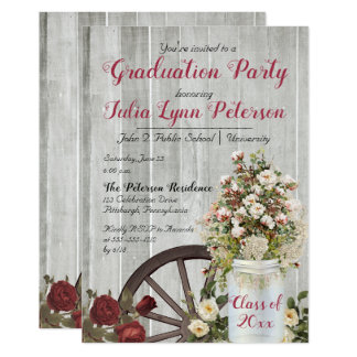 Vintage Rustic Floral Mason Jar Graduation Party Card