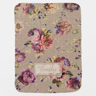 Vintage Rustic Floral Swaddle Blanket