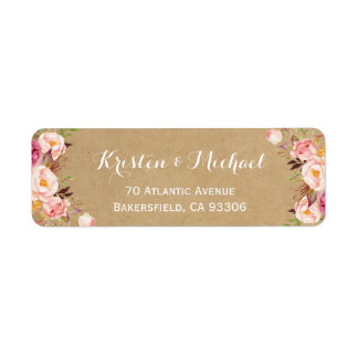Vintage Rustic Floral Wrapping Kraft Label