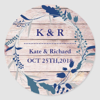 Vintage Rustic Floral Wreath Wedding Classic Round Sticker