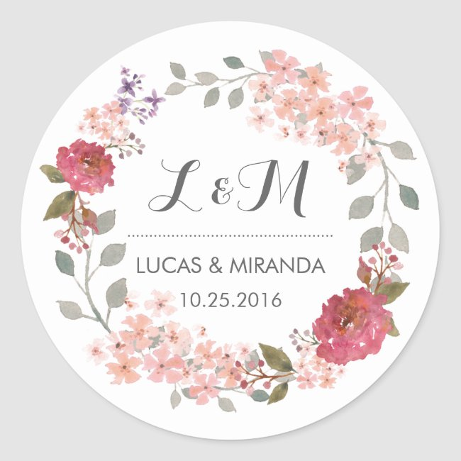 Vintage Rustic Floral Wreath Wedding Favor Sticker