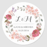 """Vintage Rustic Floral Wreath Wedding Favor Sticker<br><div class=""""desc"""">Vintage and rustic floral wreath wedding thank you sticker. Decorated with watercolor drawing of flowers, leaves and berries. Monogram sticker for wedding favor or wedding invitation envelope seals. Customize the wording for any special occasion. Spring wedding favor, bridal shower gift label, birthday party, engagement dinner, baby shower and much more....</div>"""