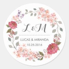 Vintage Rustic Floral Wreath Wedding Favor Sticker at Zazzle