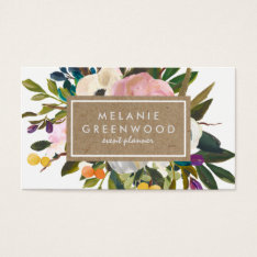 Vintage Rustic Florals Business Card at Zazzle