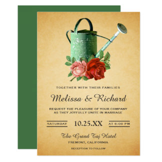 Vintage Rustic Garden Floral Watering Can Wedding Card