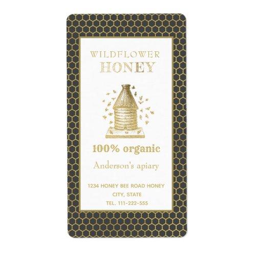 Vintage rustic gold beehive honey jar label