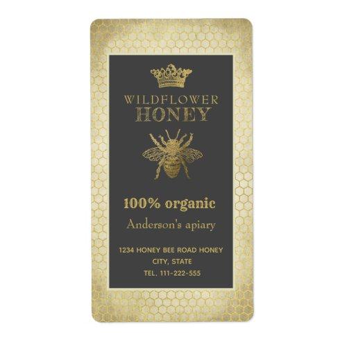 Vintage rustic gold crown queen bee honey jar label