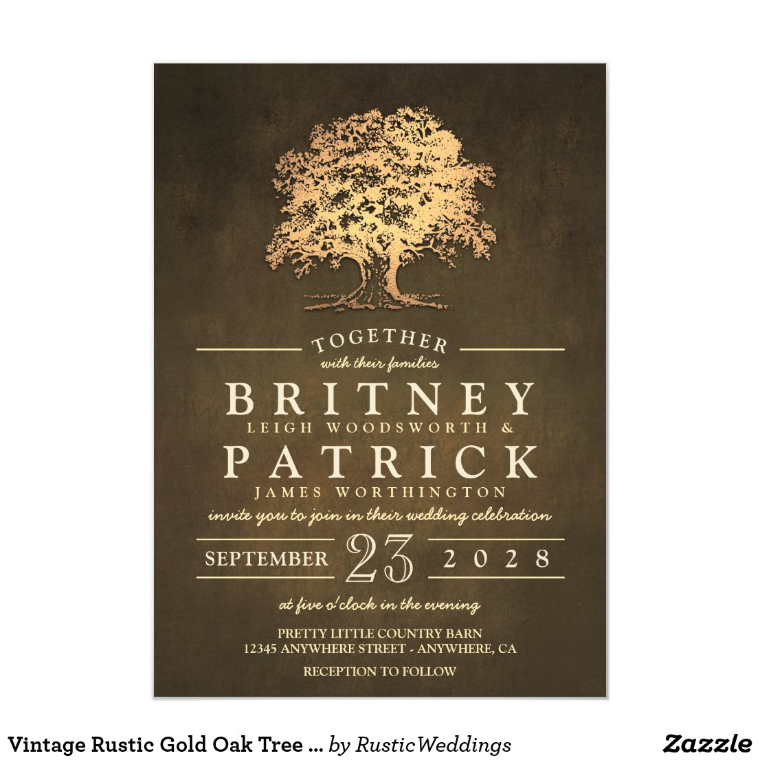 Vintage Gold Old Oak Tree Wedding Invitations