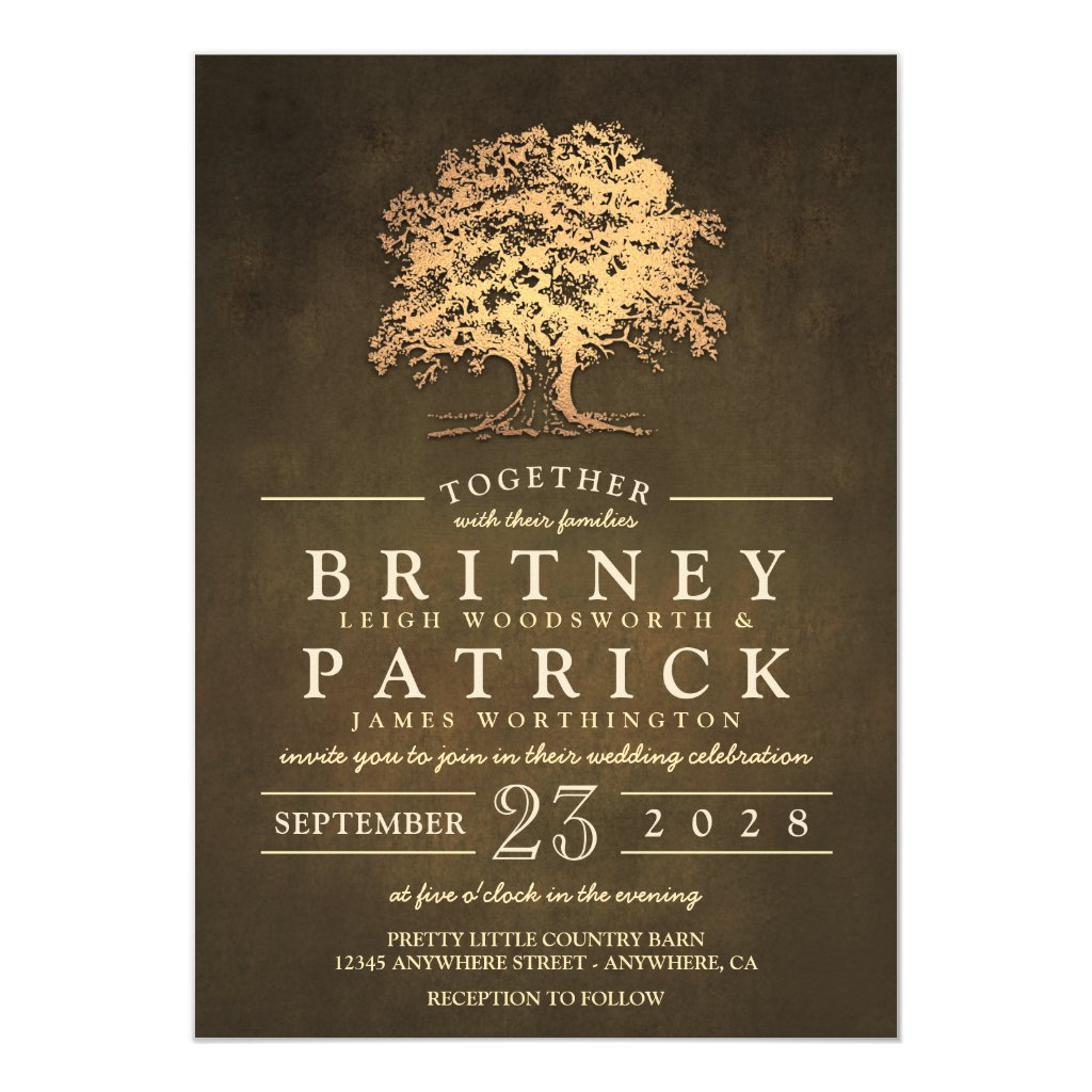 Vintage Rustic Gold Oak Tree Wedding Invitations