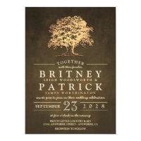 Vintage Rustic Gold Oak Tree Wedding Invitations
