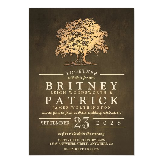 vintage gold old oak tree wedding invitations - Rustic Vintage Wedding Invitations