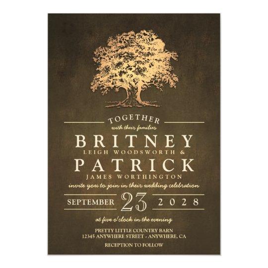 Vintage Gold Old Oak Tree Wedding Invitations