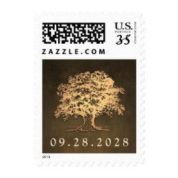 Vintage Rustic Gold Oak Tree Wedding Stamps