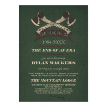 Vintage Rustic Hatchets Bachelor Party Invitation