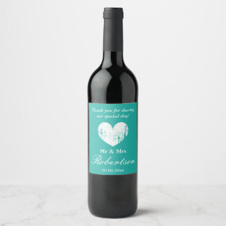 Vintage rustic heart personalized wedding party wine label