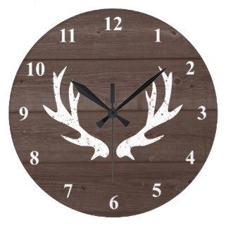 Vintage rustic hunting deer antler wood wall clock