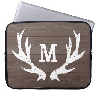 Vintage rustic hunting deer antlers laptop sleeve