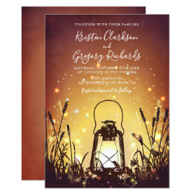 Vintage Rustic Lantern and Fireflies Wedding Invitation