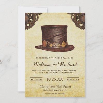 Vintage Rustic Leather Hat Steampunk Wedding Invitation