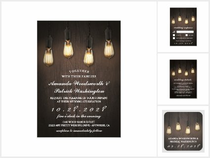 Vintage Rustic Lights Chic Wedding Invitation Set