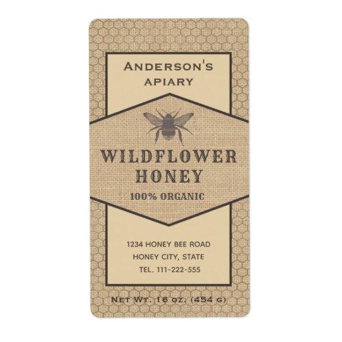 Vintage rustic linen  honey bee honey jar label