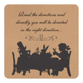 """Vintage Rustic Mad Hatters Tea Party Birthday 5.25"""" Square Invitation Card"""