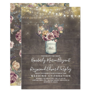 Vintage Rustic Mason Jar Mauve and Gold Wedding Card