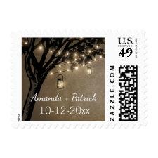 Vintage Rustic Mason Jar Oak Tree Wedding Stamps