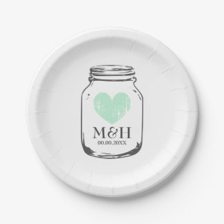 Vintage rustic mason jar wedding bbq party plates