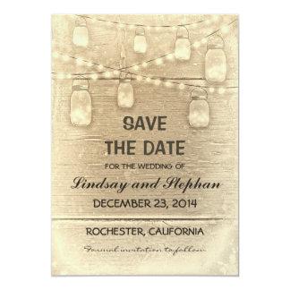vintage rustic mason jars save the date card