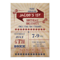 Vintage Rustic Memorial Day Birthday party Invites