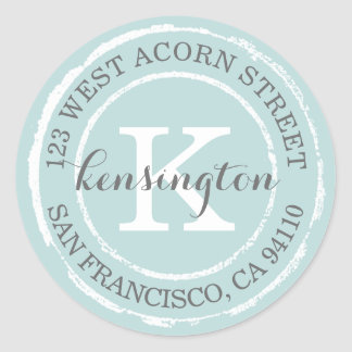 Vintage Rustic Monogram | Round Address Label