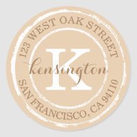Vintage Rustic Monogram | Round Address Label