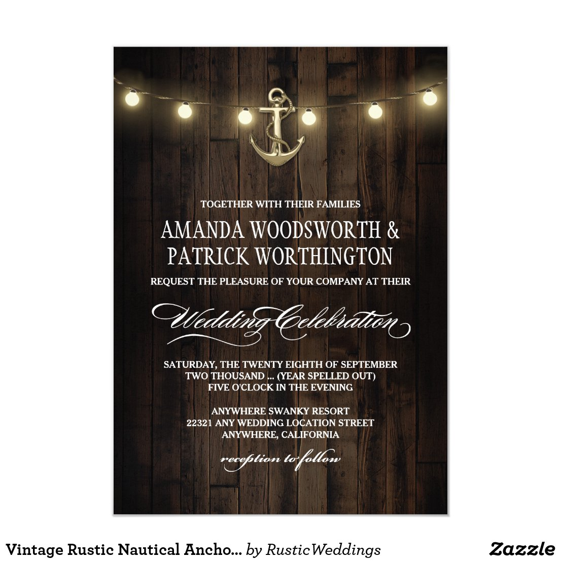 Vintage Rustic Nautical Anchor Wedding Invitations