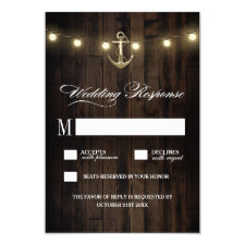 Vintage Rustic Nautical Anchor Wedding RSVP Cards