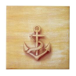 Vintage rustic nautical classy anchor tile