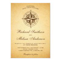 Vintage Rustic Nautical Compass Wedding Invitation
