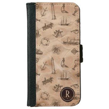 Vintage Rustic Nautical Engravings Design iPhone 6/6s Wallet Case