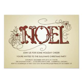 VINTAGE RUSTIC NOEL CHRISTMAS PARTY INVITATION