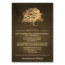 Vintage Rustic Oak Tree Reception + Hotel Cards