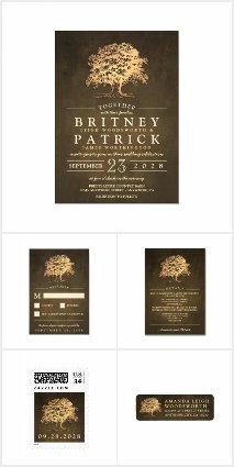 Vintage Rustic Oak Tree Wedding Invitations Set